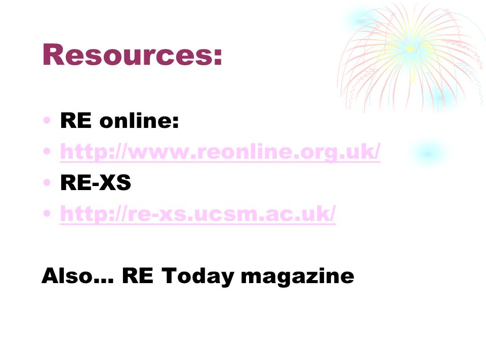 Resources: RE online:   RE-XS   Also...