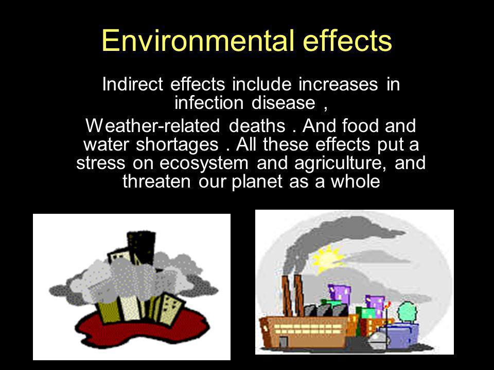 Environmental effects Indirect effects include increases in infection disease, Weather-related deaths. And food and water shortages. All these effects