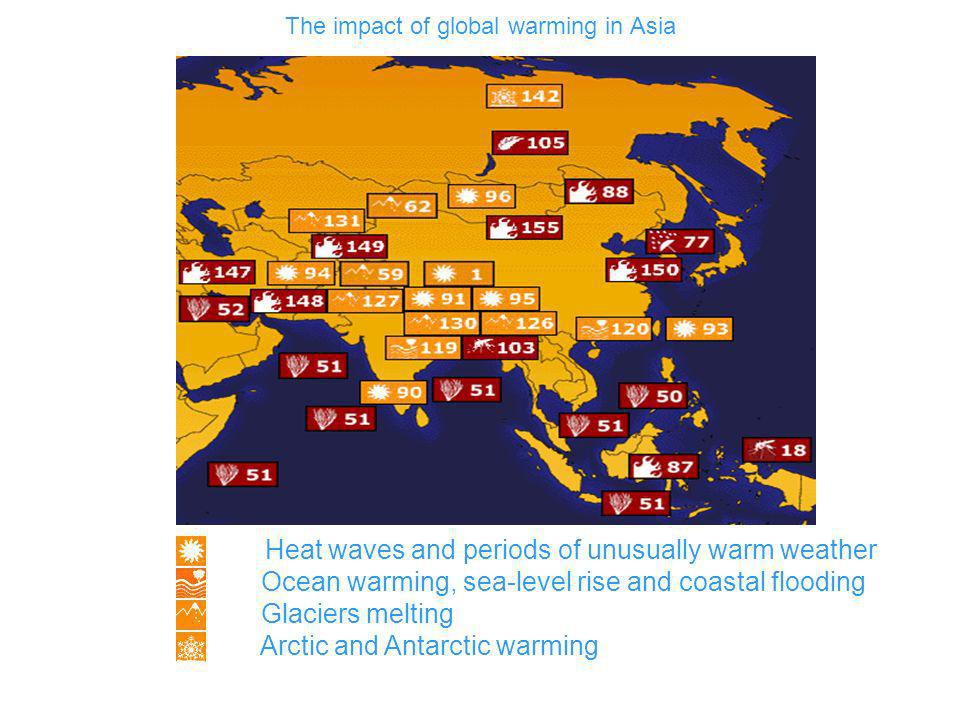 Heat waves and periods of unusually warm weather Ocean warming, sea-level rise and coastal flooding Glaciers melting Arctic and Antarctic warming The