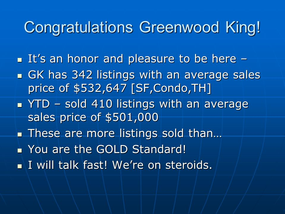 Congratulations Greenwood King.