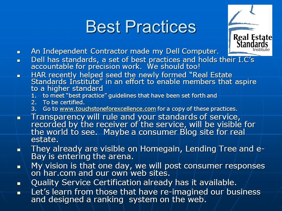 Best Practices An Independent Contractor made my Dell Computer.