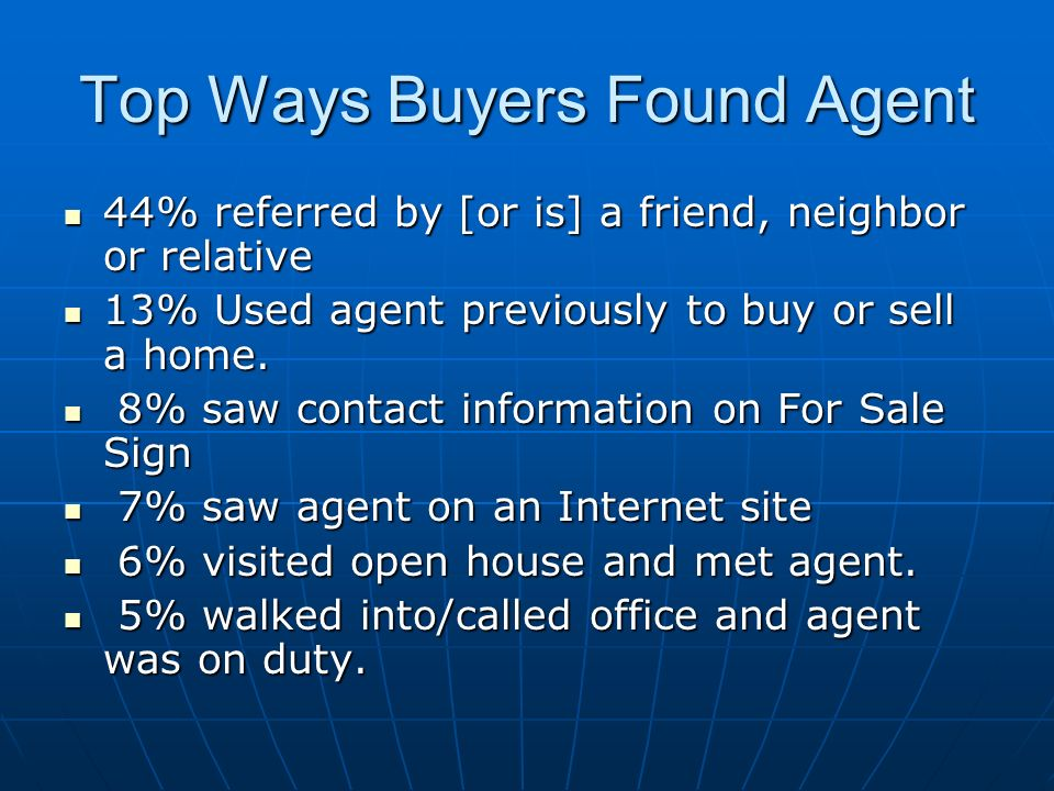 Top Ways Buyers Found Agent 44% referred by [or is] a friend, neighbor or relative 44% referred by [or is] a friend, neighbor or relative 13% Used agent previously to buy or sell a home.