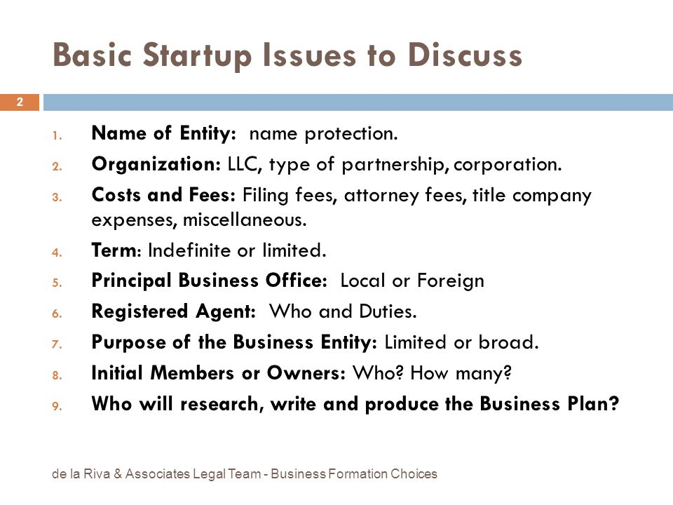 Basic Startup Issues to Discuss 1. Name of Entity: name protection. 2. Organization: LLC, type of partnership, corporation. 3. Costs and Fees: Filing