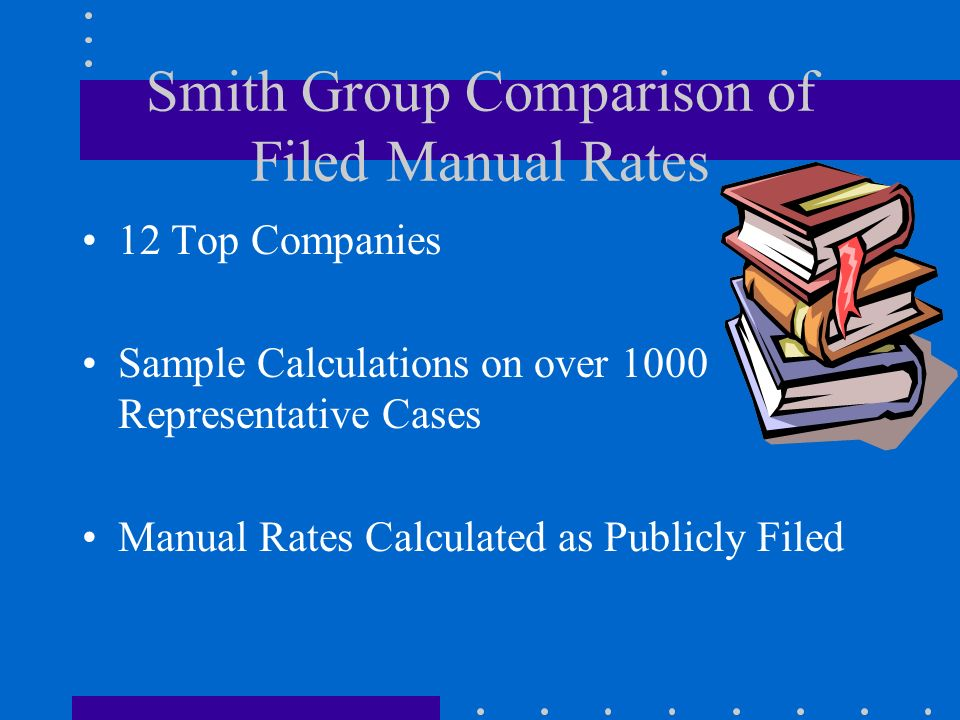 Smith Group Comparison of Filed Manual Rates 12 Top Companies Sample Calculations on over 1000 Representative Cases Manual Rates Calculated as Publicl