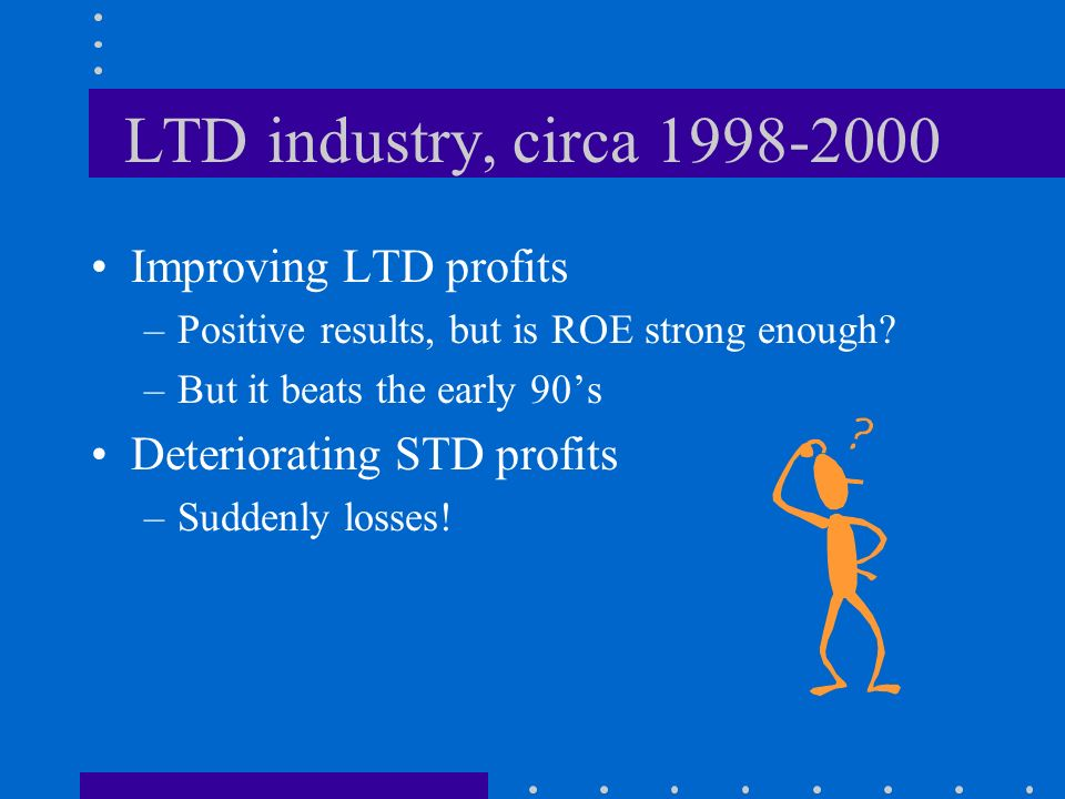 LTD industry, circa 1998-2000 Improving LTD profits –Positive results, but is ROE strong enough? –But it beats the early 90s Deteriorating STD profits