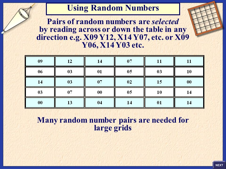 Using Random Numbers Pairs of random numbers are selected by reading across or down the table in any direction e.g. X09 Y12, X14 Y07, etc. or X09 Y06,