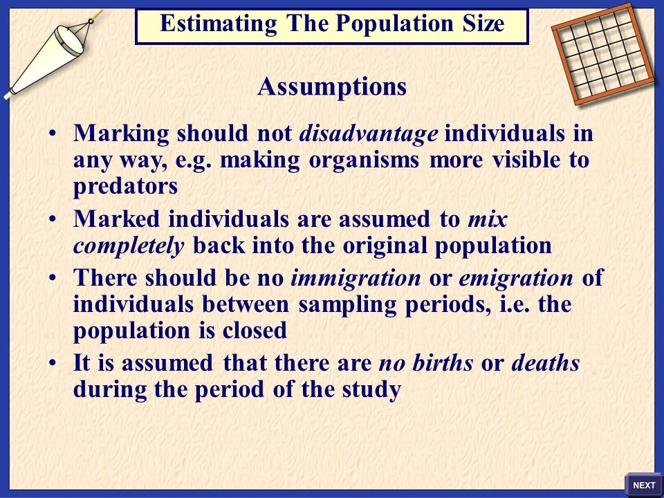 Estimating The Population Size Assumptions Marking should not disadvantage individuals in any way, e.g. making organisms more visible to predators Mar
