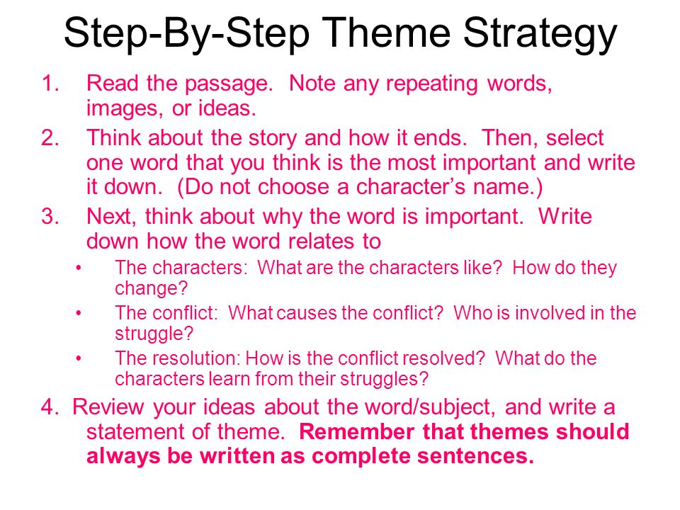 Example of the Step-by-Step Theme Strategy Most Important WordDiscipline Characters;Helen Keller is an undisciplined child who throws temper tantrums and tries to drive Annie off by misbehaving.