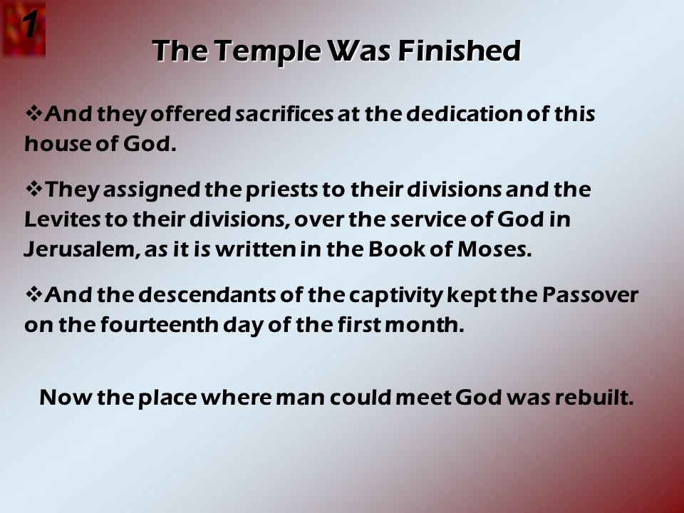 The Temple Was Finished And they offered sacrifices at the dedication of this house of God. They assigned the priests to their divisions and the Levit