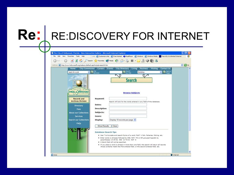 Re : RE:DISCOVERY FOR INTERNET