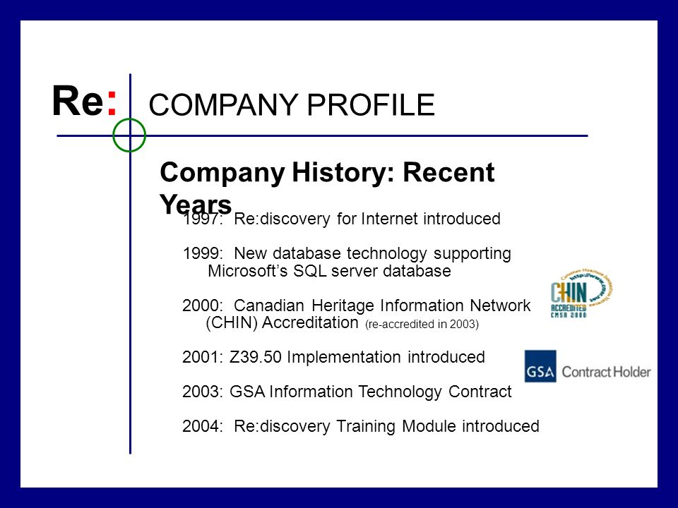 Re : COMPANY PROFILE Company History: Recent Years 1997: Re:discovery for Internet introduced 1999: New database technology supporting Microsofts SQL
