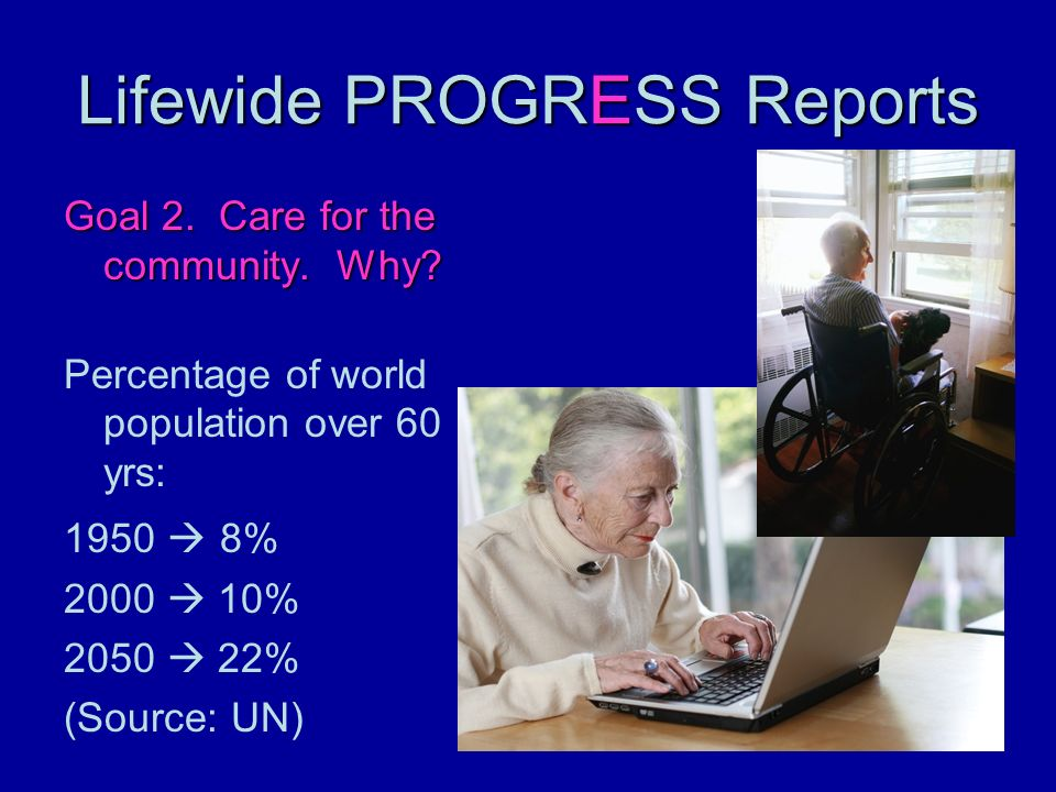Lifewide PROGRESS Reports Goal 2. Care for the community. Why? Percentage of world population over 60 yrs: 1950 8% 2000 10% 2050 22% (Source: UN)
