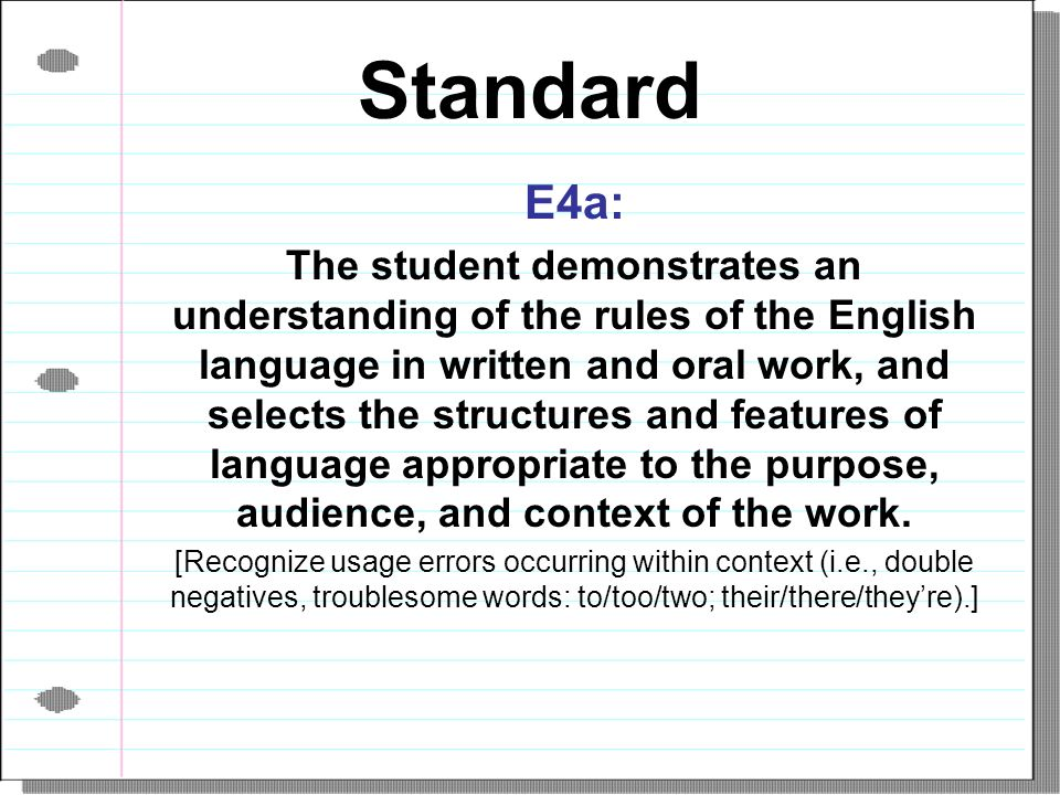 Standard E4a: The student demonstrates an understanding of the rules of the English language in written and oral work, and selects the structures and