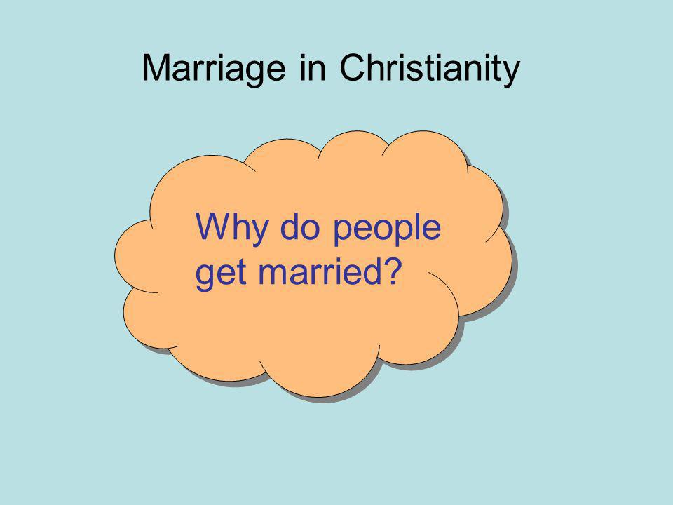 Marriage in Christianity Why do people get married