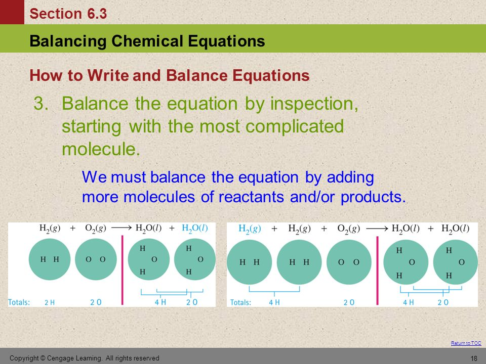 Section 6.3 Balancing Chemical Equations Return to TOC Copyright © Cengage Learning. All rights reserved 18 3.Balance the equation by inspection, star