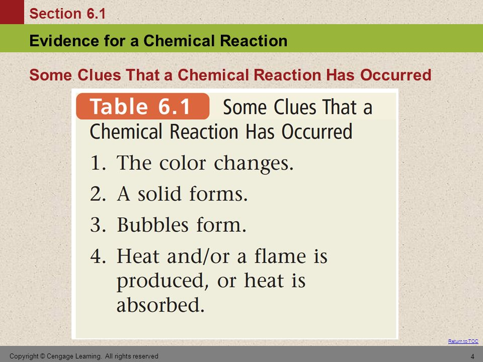 Section 6.1 Evidence for a Chemical Reaction Return to TOC Copyright © Cengage Learning. All rights reserved 4 Some Clues That a Chemical Reaction Has