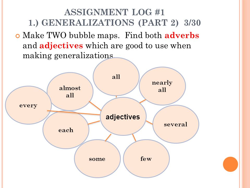 ASSIGNMENT LOG #1 1.) GENERALIZATIONS (PART 2) 3/30 Make TWO bubble maps.