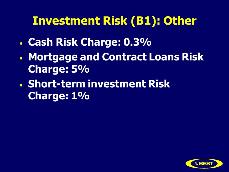 Investment Risk (B1): Other Cash Risk Charge: 0.3% Mortgage and Contract Loans Risk Charge: 5% Short-term investment Risk Charge: 1%