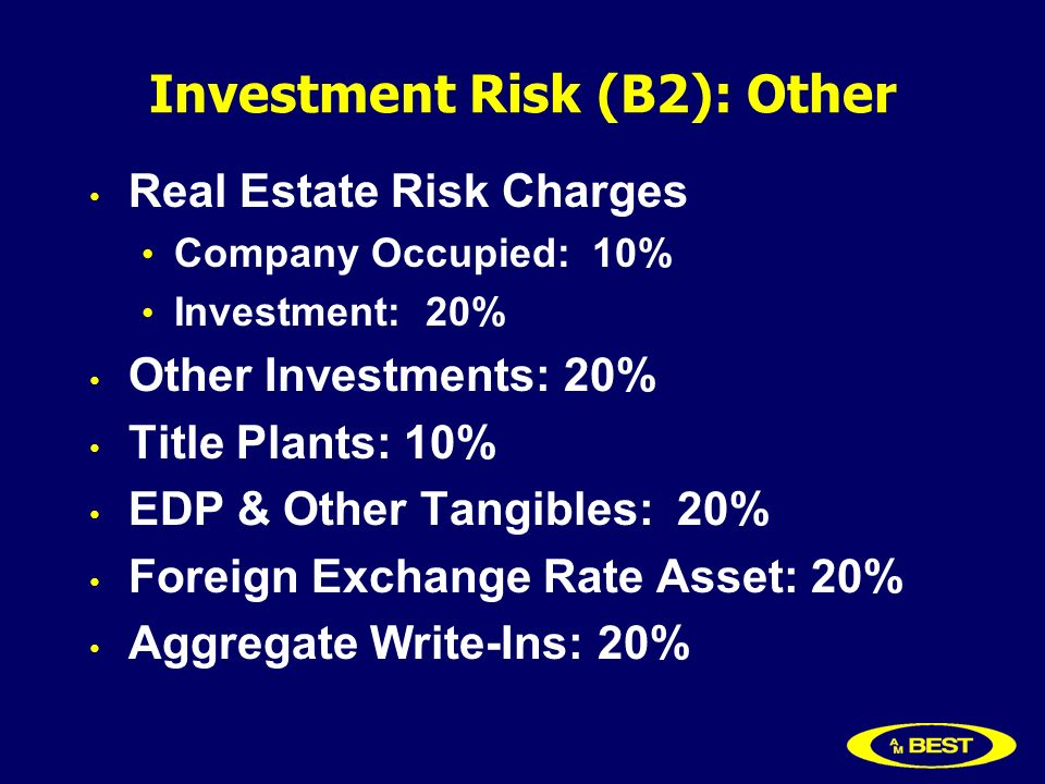 Investment Risk (B2): Other Real Estate Risk Charges Company Occupied: 10% Investment: 20% Other Investments: 20% Title Plants: 10% EDP & Other Tangibles: 20% Foreign Exchange Rate Asset: 20% Aggregate Write-Ins: 20%
