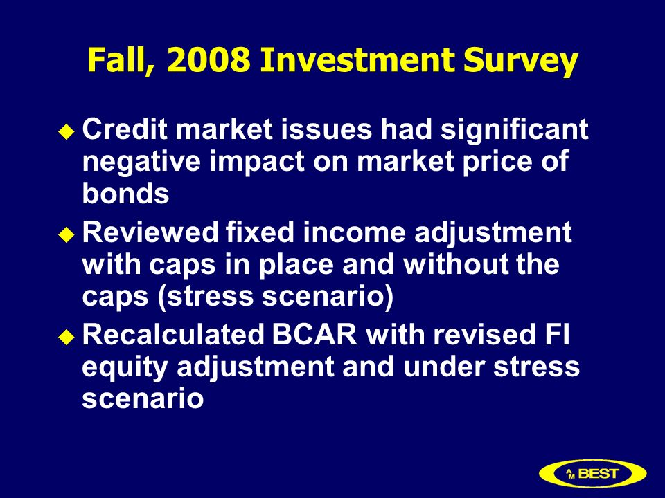 Fall, 2008 Investment Survey Credit market issues had significant negative impact on market price of bonds Reviewed fixed income adjustment with caps in place and without the caps (stress scenario) Recalculated BCAR with revised FI equity adjustment and under stress scenario