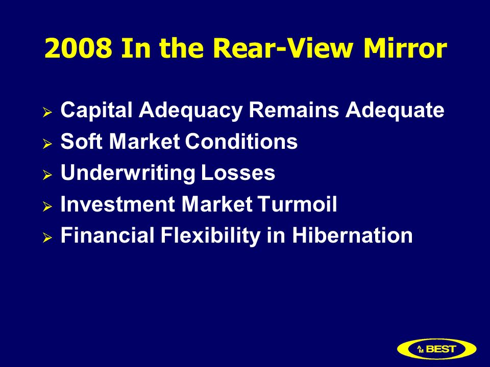 2008 In the Rear-View Mirror Capital Adequacy Remains Adequate Soft Market Conditions Underwriting Losses Investment Market Turmoil Financial Flexibility in Hibernation