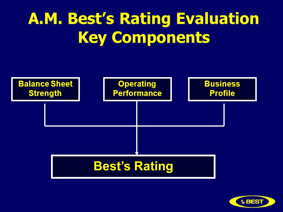 A.M. Bests Rating Evaluation Key Components Balance Sheet Strength Operating Performance Business Profile Bests Rating