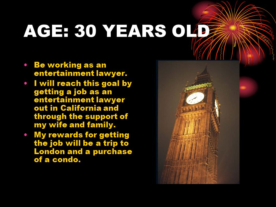 AGE: 40 YEARS OLD Be working as a successful entertainment lawyer for big celebrities.