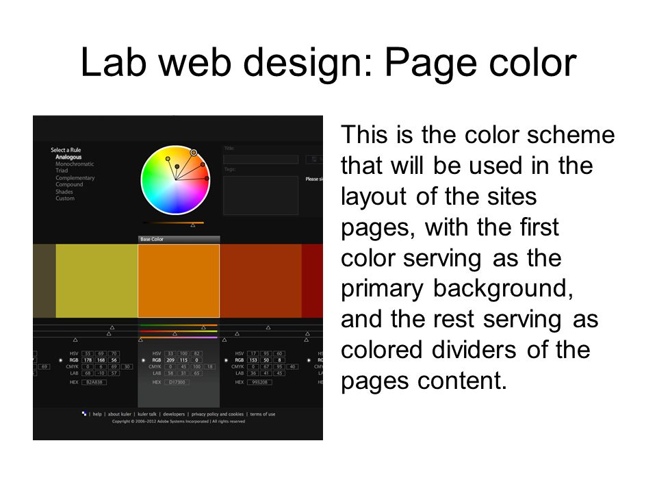 Lab web design: Page color This is the color scheme that will be used in the layout of the sites pages, with the first color serving as the primary background, and the rest serving as colored dividers of the pages content.