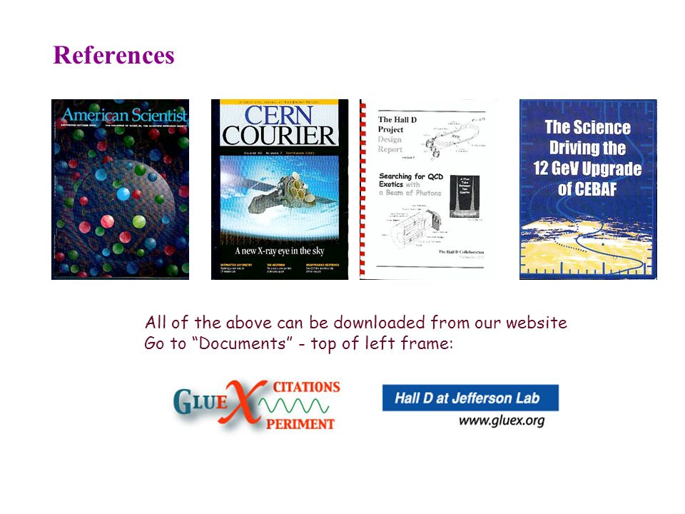 References All of the above can be downloaded from our website Go to Documents - top of left frame: