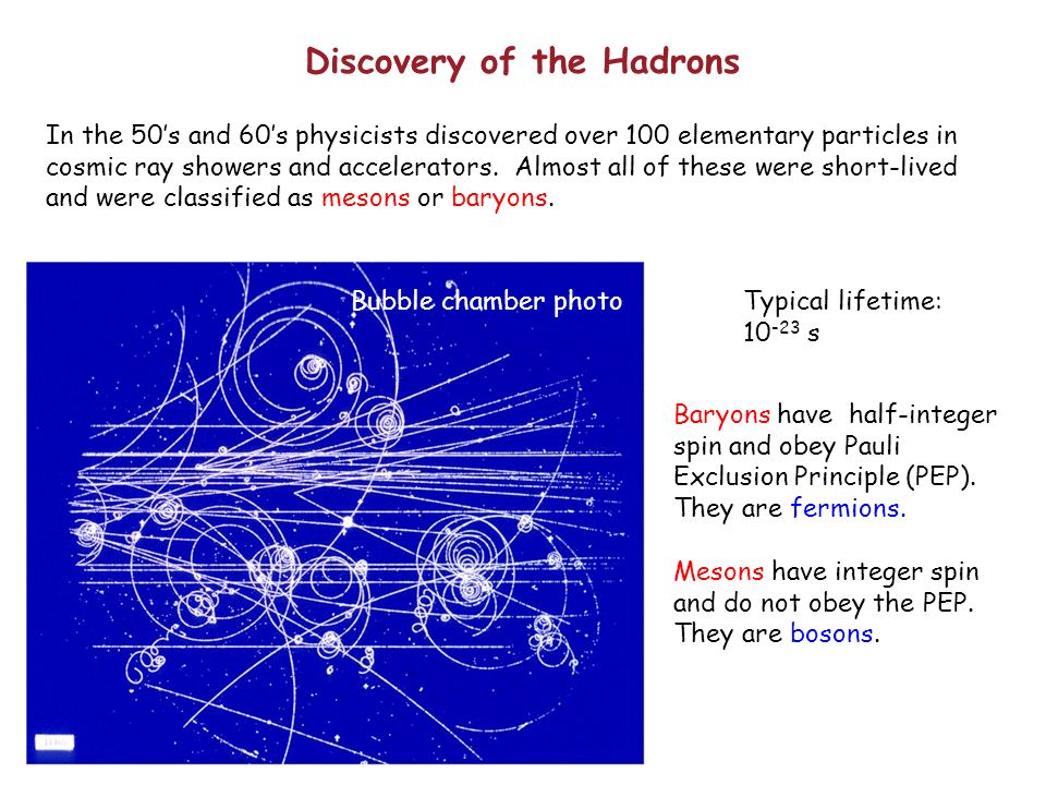 Discovery of the Hadrons In the 50s and 60s physicists discovered over 100 elementary particles in cosmic ray showers and accelerators.