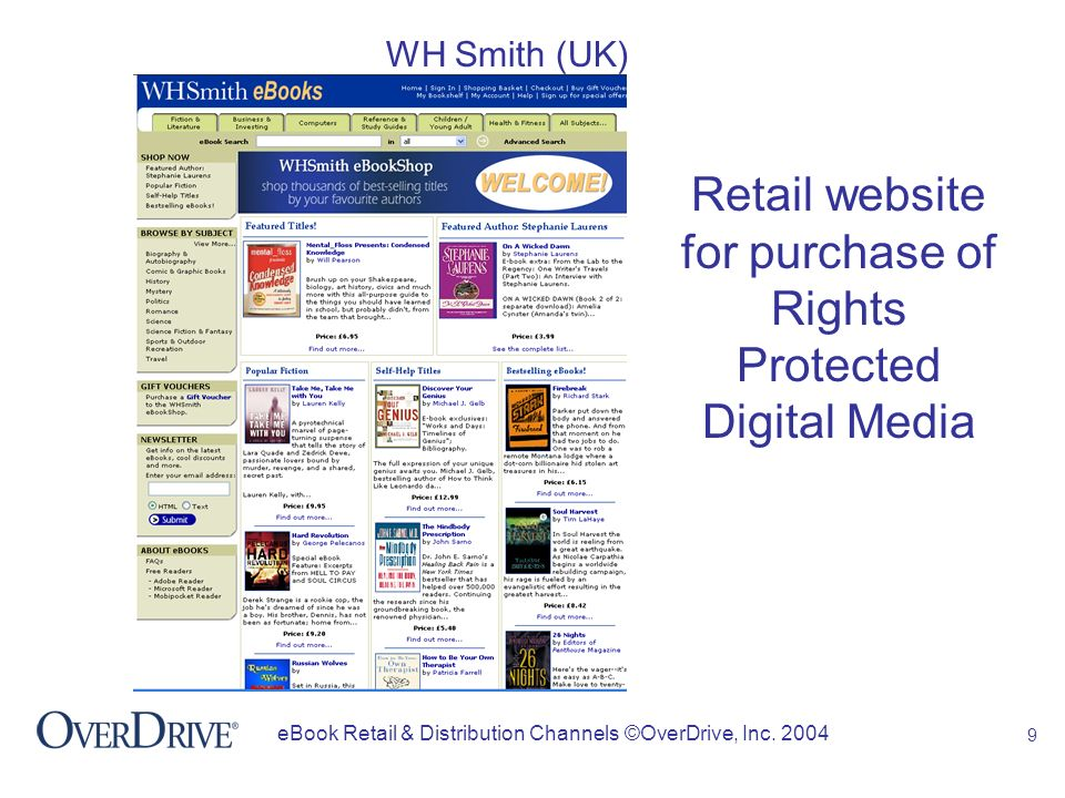 10 eBook Retail & Distribution Channels ©OverDrive, Inc. 2004