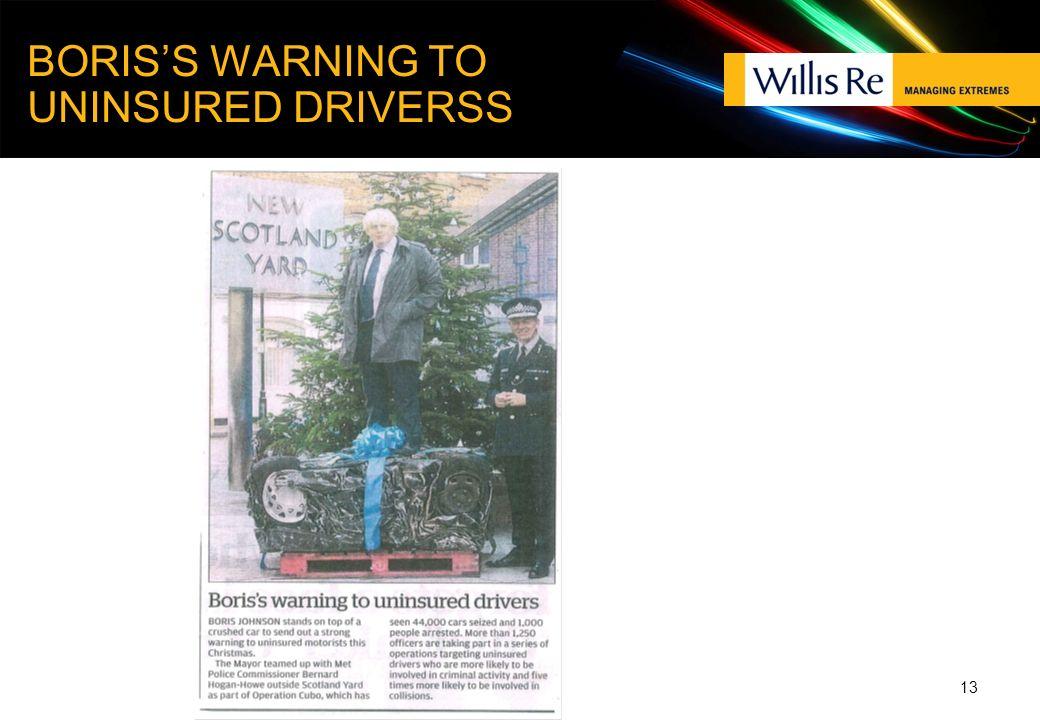 BORISS WARNING TO UNINSURED DRIVERSS 13