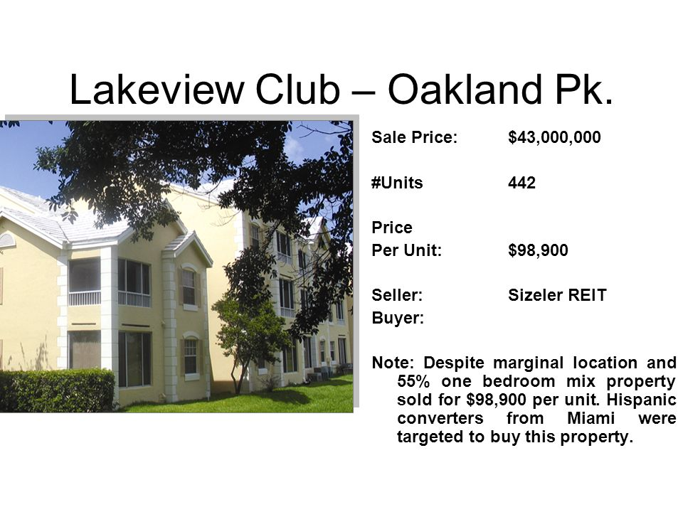 Lakeview Club – Oakland Pk.