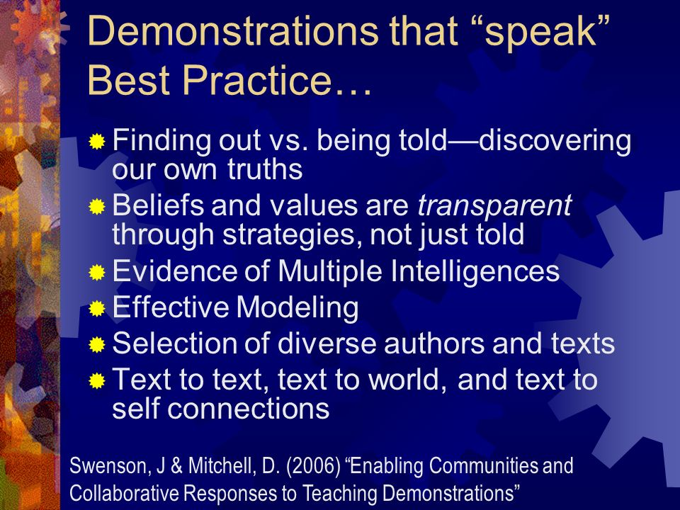 Demonstrations that speak Best Practice… Finding out vs.