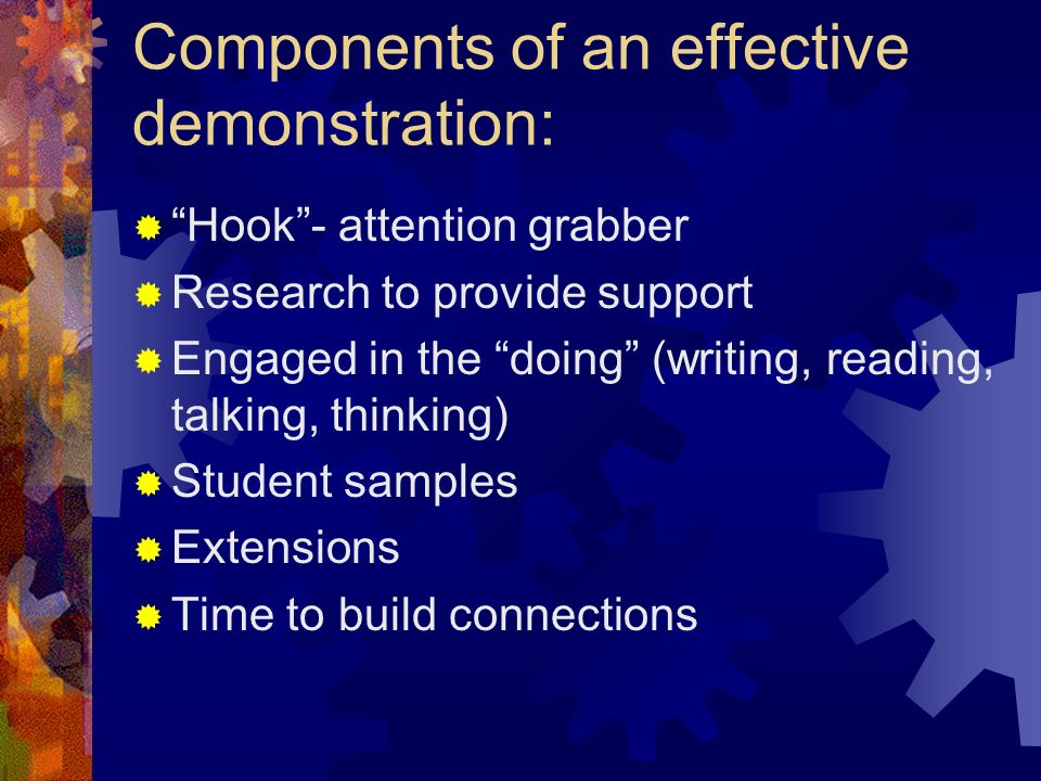 Components of an effective demonstration: Hook- attention grabber Research to provide support Engaged in the doing (writing, reading, talking, thinking) Student samples Extensions Time to build connections