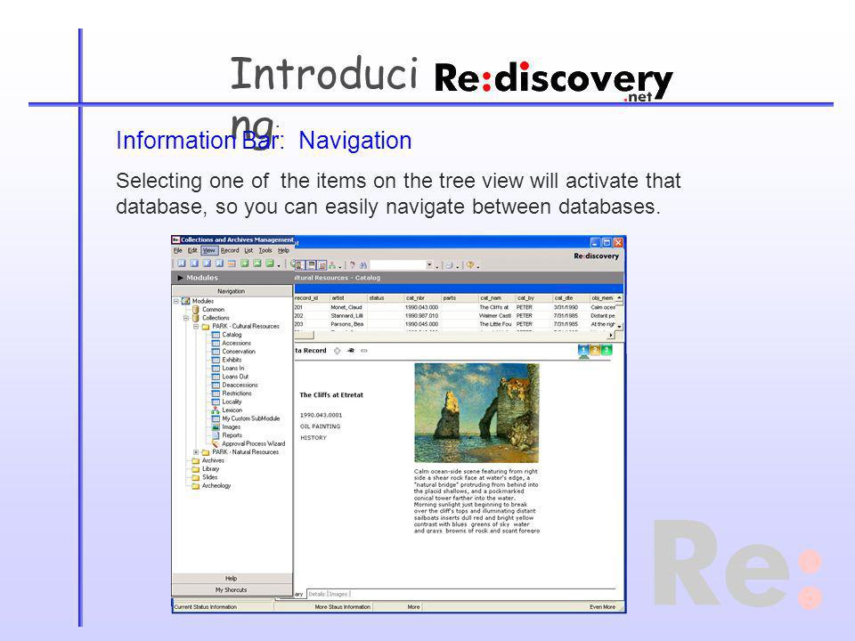Introduci ng : Information Bar: Navigation Selecting one of the items on the tree view will activate that database, so you can easily navigate between