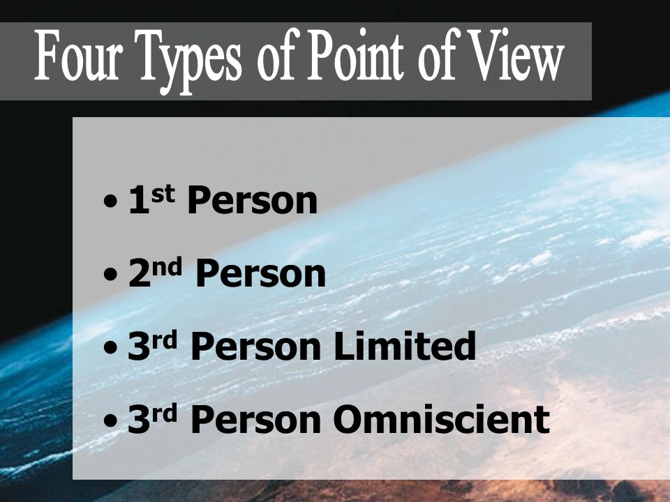 1 st Person 2 nd Person 3 rd Person Limited 3 rd Person Omniscient