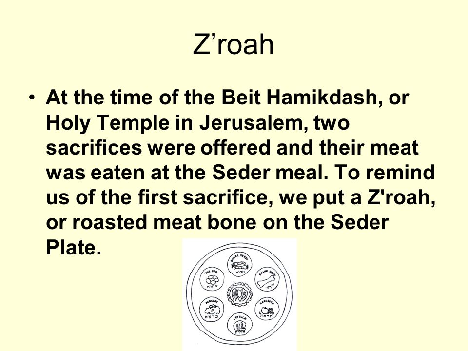 Zroah At the time of the Beit Hamikdash, or Holy Temple in Jerusalem, two sacrifices were offered and their meat was eaten at the Seder meal. To remin