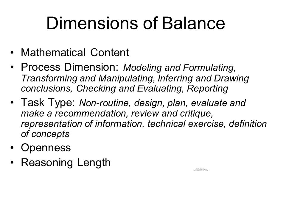 Dimensions of Balance Mathematical Content Process Dimension: Modeling and Formulating, Transforming and Manipulating, Inferring and Drawing conclusio