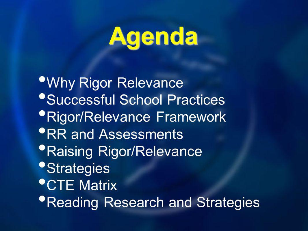 Agenda Why Rigor Relevance Successful School Practices Rigor/Relevance Framework RR and Assessments Raising Rigor/Relevance Strategies CTE Matrix Reading Research and Strategies