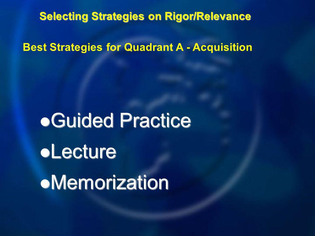 Selecting Strategies on Rigor/Relevance Guided Practice Guided Practice Lecture Lecture Memorization Memorization Best Strategies for Quadrant A - Acquisition