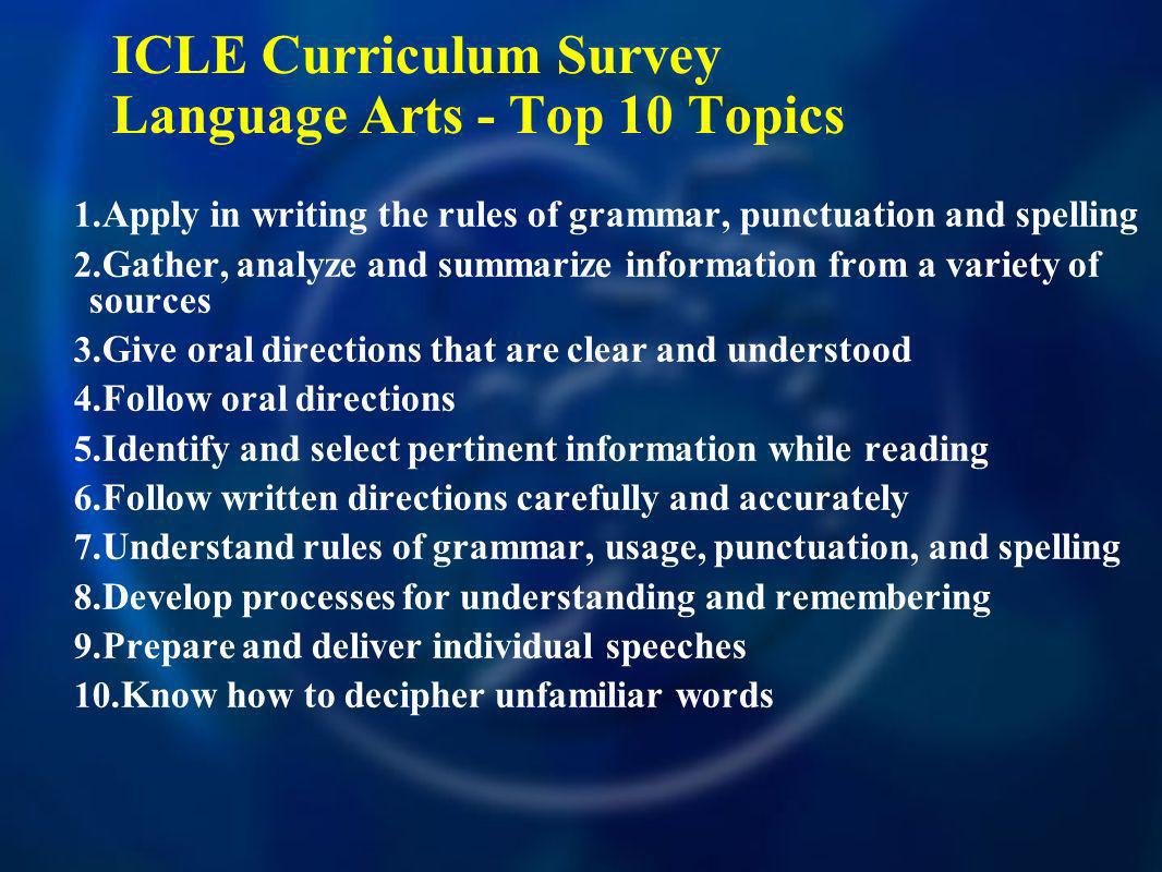 ICLE Curriculum Survey Language Arts - Top 10 Topics 1.