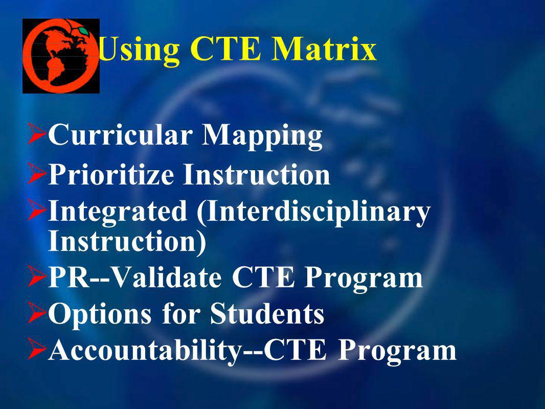 Using CTE Matrix Curricular Mapping Prioritize Instruction Integrated (Interdisciplinary Instruction) PR--Validate CTE Program Options for Students Accountability--CTE Program