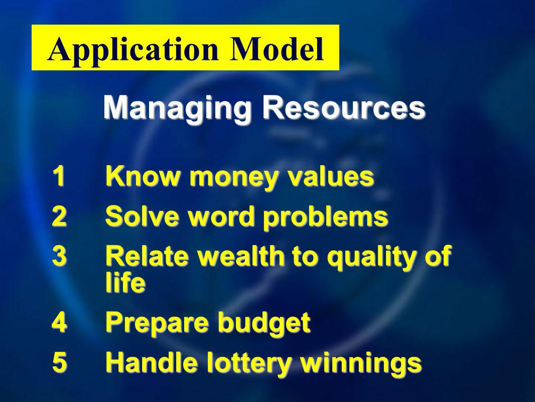 Managing Resources 1Know money values 2Solve word problems 3Relate wealth to quality of life 4Prepare budget 5Handle lottery winnings Application Model