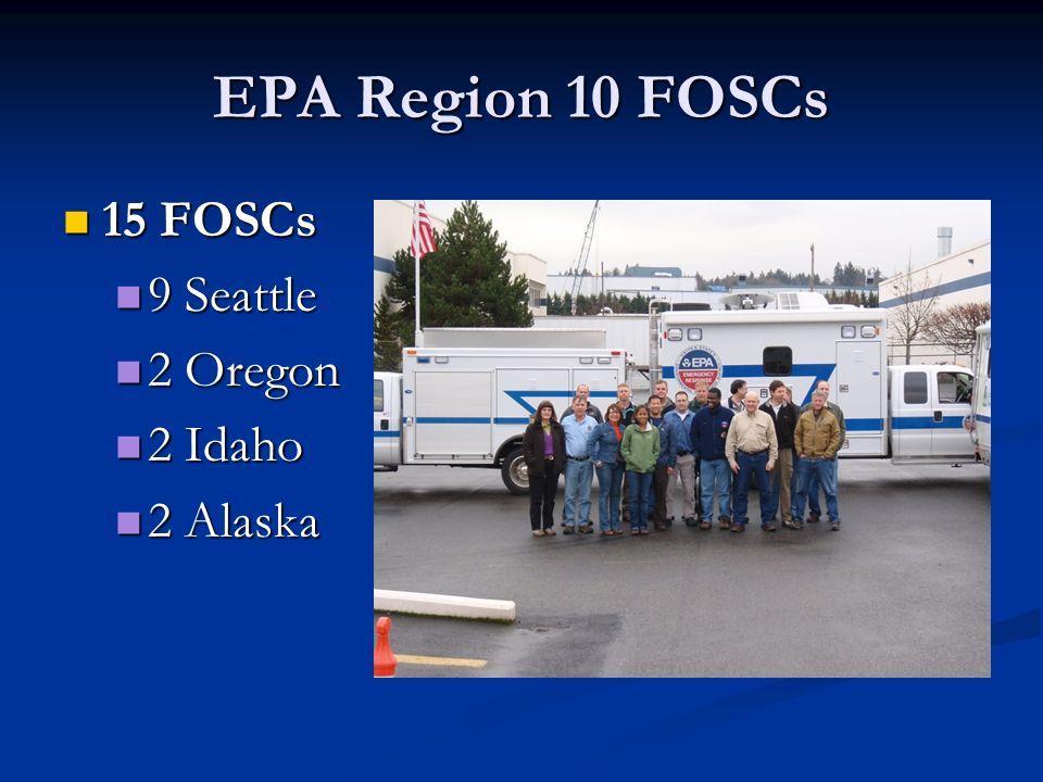 EPA Region 10 FOSCs 15 FOSCs 15 FOSCs 9 Seattle 9 Seattle 2 Oregon 2 Oregon 2 Idaho 2 Idaho 2 Alaska 2 Alaska