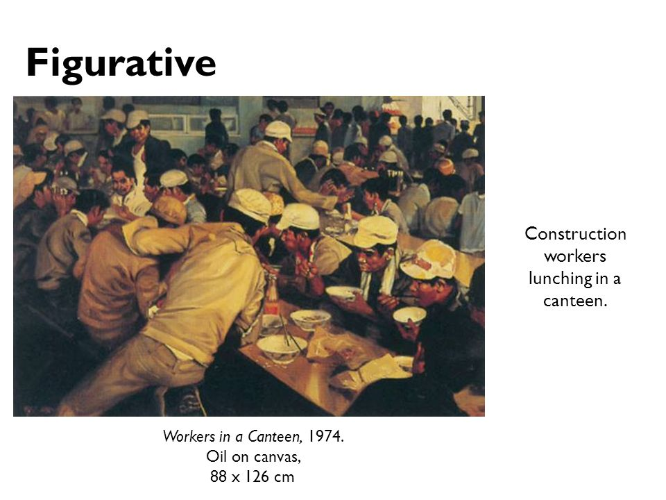 Workers in a Canteen, 1974. Oil on canvas, 88 x 126 cm Construction workers lunching in a canteen. Figurative