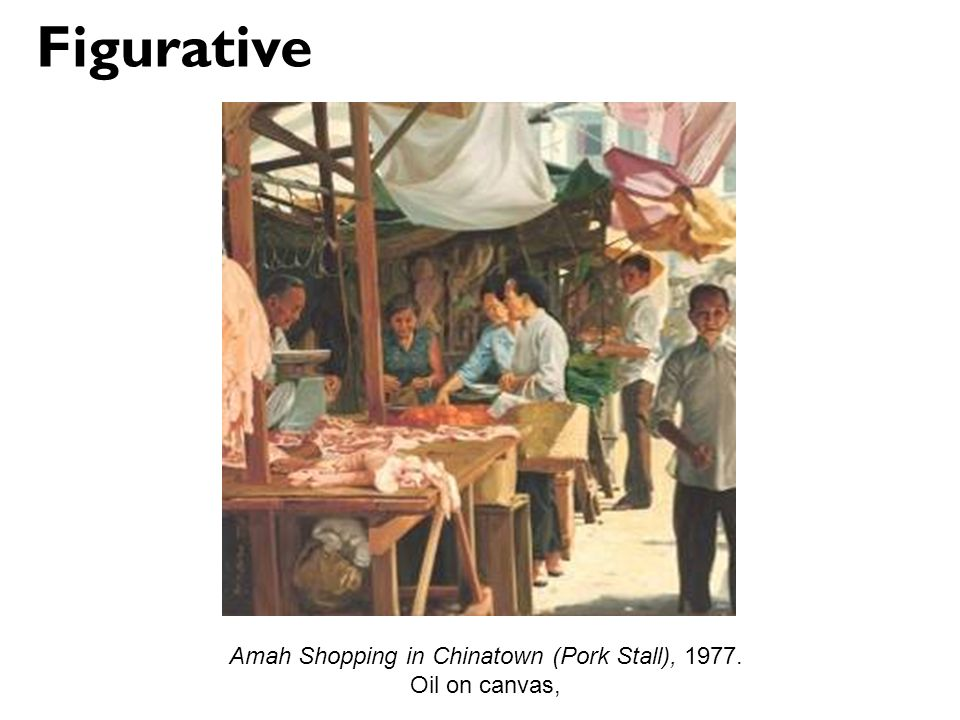 Amah Shopping in Chinatown (Pork Stall), 1977. Oil on canvas, Figurative