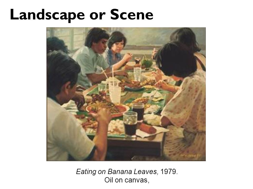 Eating on Banana Leaves, 1979. Oil on canvas, Landscape or Scene