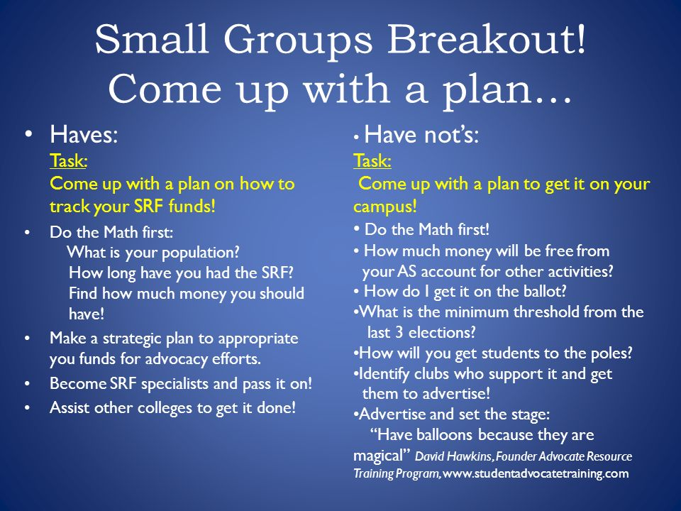 Small Groups Breakout.