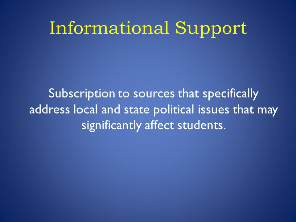 Informational Support Subscription to sources that specifically address local and state political issues that may significantly affect students.